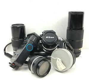 Nikon F2 Camera Bundler w/ 4 lenses a flash and case