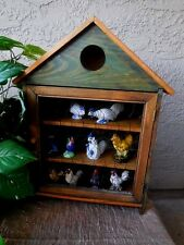 Wall Decor Curio Cabinet  Minatures Wood Wall Decor  wire front w/9 figurines