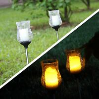 2 Solar LED Garden Light Stake Warm White Crackle Glass Candle light Yard
