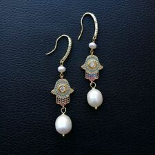 K111713 White PearlCZ PaveHamasa Earrings