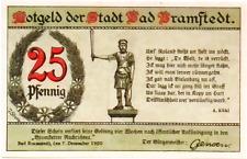 1920 Germany BAD BRAMSTEDT 25  Phennig Notgeld / Banknote