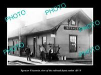 OLD LARGE HISTORIC PHOTO OF SPENCER WISCONSIN, RAILROAD DEPOT STATION c1910