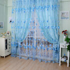 1X Rideau Fils Voilage Fenêtre Voile Fleur Décor Maison Porte Salle Bain Chambre