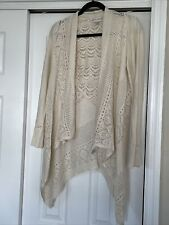 Knox Rose Womens Sweater Size M Ivory Long Sleeve Open Front Lace Back Open Knit
