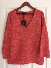 NWT MASSIMO DUTTI Womens V-Neck Jumper Sweater Size L, Made in Spain
