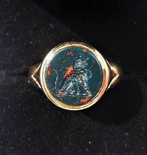 Antique 18ct Gold Bloodstone Intaglio Seal Signet Ring, Size P, Leopard Cat