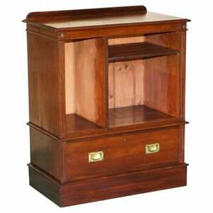 ANTIQUE VICTORIAN RICH MAHOGANY MILITARY CAMPAIGN DRINKS CABINET OR TV STAND