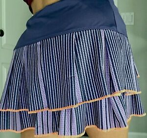 Lucky In Love Ruffled Tiered Skort Skirt Size Medium Purple Orange Striped Women