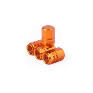 4Pcs/Set Refit Orange Aluminum Alloy Valve Cap Tire Wheel Valve Stem Caps