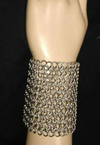 """CHAINMAIL BRACELET 316 STAINLESS 3""""X 6""""  HAND MADEover 400 1/4"""" RINGS"""