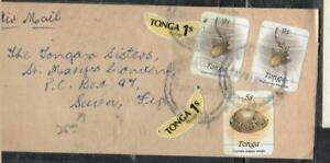 TONGA COVER (P0208B) FREEFORM BANANA 1SX2+FISH 9SX2+SHELL 5S A/M TO NEW ZEALAND