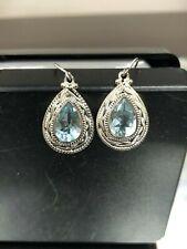 JTV Sterling Silver 8.00 Ct Blue Topaz Teardrop Vintage Style Dangle Earrings