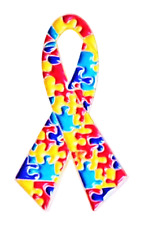 More details for autism awareness gold plated ribbon pin badge