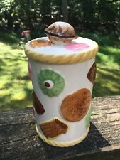Vintage Cookies All Over Cookie Canister Walnut Knob 1950's Rare