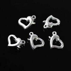 50pcs 13x9mm Silver Metal Heart Shape Lobster Claw Clasp Hooks Wholesale Lot