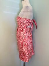 Molly B 100% Silk Strapless Dress Boutique Excellent Pink Paisley 6 S USA Party