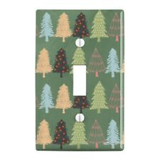 Spunky Christmas Trees Plastic Wall Decor Toggle Light Switch Plate Cover