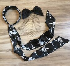 Lot 2 HOT TOPIC Black Skull Hair Band & Bow Clip w/ Net Veil GOTH EMO PIRATE