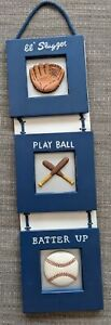 Pottery Barn Match *BRAND NEW Wall Hanging Baseball Glove Bat Decoration Picture