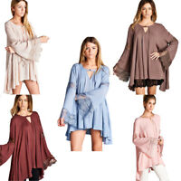 JODIFL Womens Boho Chic Lace Bohemian Long Bell Sleeve Top Blouse Tunic S M L