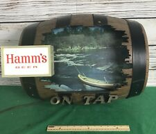Vintage Hamm's Beer Sign ON TAP Keg Light River Canoe Fishing Barrel Man Cave