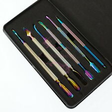 Rainbow Stainless Steel Pusher Remover Cuticle Kit Set Nail Art Dail Care Tools