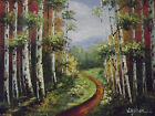 green trees forest large oil painting canvas minimal landscape contemporary art
