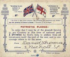 Patriotic Pledge Card World War I 1914-1918 Alcohol Drunkenness
