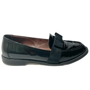 Russell & Bromley Women's Black Shinny Leather Loafers Slip On Shoes Size 39.5