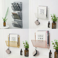 Stylish Wall Mount Metal Kitchen Storage Basket Magazine Book Rack Shelf Holder