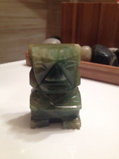 "Antique Aztec Style Hand-Carved 3"" Jade Figurine on Rosewood Stand"