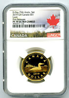 2019 CANADA SILVER PROOF LOONIE DOLLAR NGC PF70 UCAM GILT LOON FIRST RELEASES