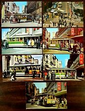 7 Postcards CABLE CAR TURN TABLE POWELL & MARKET STREETS SAN FRANCISCO CA 1950s-