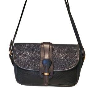 Vintage Dooney & Bourke Navy Blue Pebbled Leather Crossbody Shoulder Bag Purse