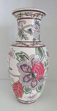 "Porcelain VASE 1970's Floral with Gold Leaf Pink Mauve Green White 10"" China"
