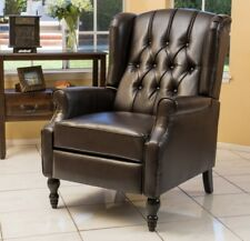 Brown Leather Wingback Recliner Arm Chair Recliners Armchair Accent Chairs NEW