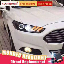 2Pcs For Ford Fusion Headlights assembly Bi-xenon Lens Projector LED DRL 13-16