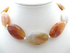 Halskette Kette Edelsteine Karneol Süsswasserperle Linsen orange braun Silber