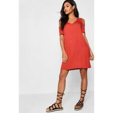 Boohoo Hannah Basic V Neck Cold Shoulder Swing Dress Size 16 UK Cinnamon