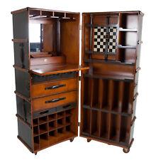 "Stateroom Bar Grey Steamer Travel Trunk 58"" Home Pub Nautical Storage Furniture"