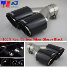 Universal Glossy 100% Real Carbon Fiber Car Dual Exhaust Pipe Tail Muffler Tip