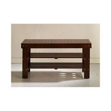 Entry Way Shoe Bench Storage Shelves Rack Seat Bed Mud Room Slat Accent Wood
