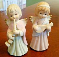 Lefton Porcelain Vintage Angel Figurines 05019 Two