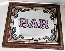 "Bar Sign Mirror Plastic Faux Wood Frame Retro Wall Hanging 24 X 19"""