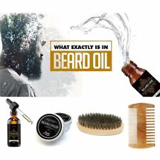 Premium Beard Hair Growth Products Kit Set With Oil Balm Brush And Comb Wax Men