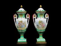 "Two Antique Hand-Painted Paris Porcelain Lamp Bases. Artist Signed 1890's.16"" H."