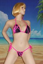 Neon Pink Lightning scrunch butt bikini cheeky sexy  S/M USA made
