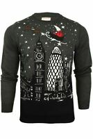Mens Merry Xmas Christmas Jumper - London Or New York Santa Sleigh Scene by Xact