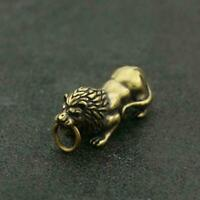 Chinese Brass Lion Statue Small Pendant Old China Zodiac Pocket Gift Good Luck