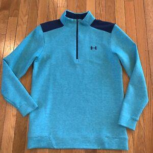 Under Armour Golf 1/4 Zip Long Sleeve Sweatshirt Mens Sz Small Teal Blue Green